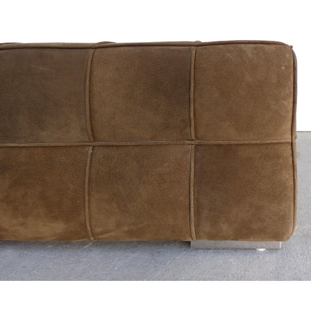 Modern Large Tufted Square Suede Ottoman For Sale - Image 3 of 9