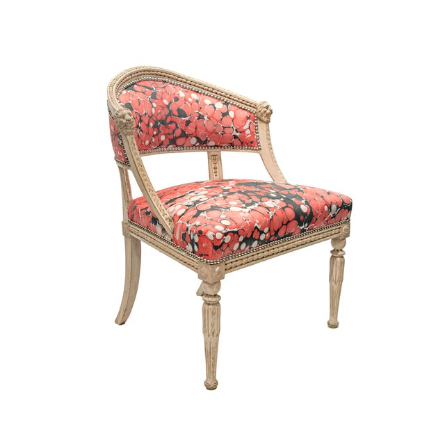 Lion's Head Details, Foliate Frame, and Raised on Fluted and Lotus Carved Legs, upholstered in Casa Branca marbelized...