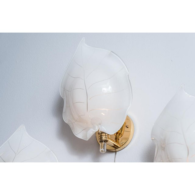 1970s Large Murano Glass Wall Leaf Sconces by Franco Luce - Set of 3 For Sale - Image 5 of 13