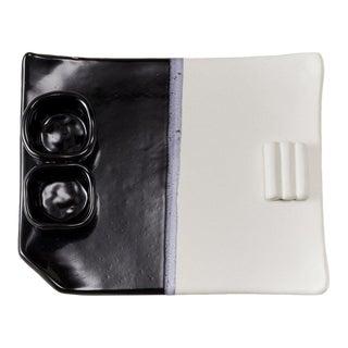 "Contemporary Handmade Ceramic ""Benny"" Plate in Noir/Blanc For Sale"