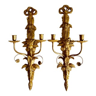 """2 Italian Gilt Wood & Tole 22""""Candle Sconces-6 Available For Sale"""
