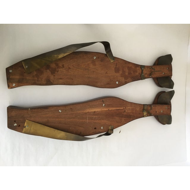 Mid-Century Wood & Brass Wall Cats - A Pair - Image 4 of 10