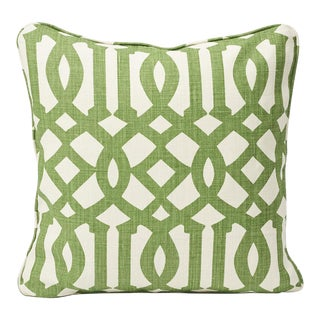 Schumacher Double-Sided Pillow in Imperial Trellis Linen Print For Sale