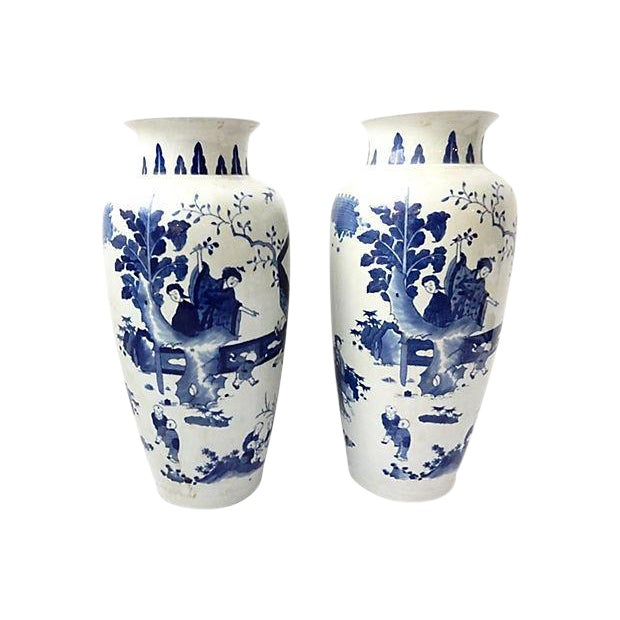 Hand-Painted Blue & White Vases, Pair - Image 1 of 9