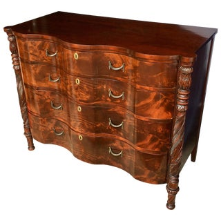 Foliate Carved Mahogany Wood Bowed Chest of Drawers For Sale