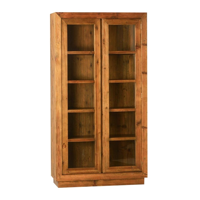 Wood & Glass Storage Cabinet For Sale