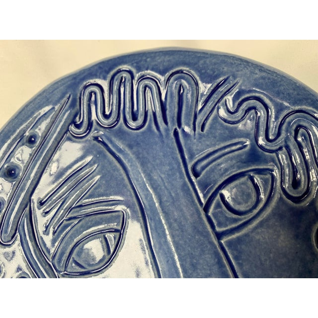 1990s Blue Abstract Art Ceramic Pottery Plate Face Sculpture For Sale - Image 5 of 11