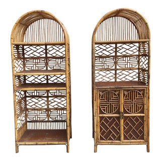 Vintage Bamboo Fretwork Etageres - A Pair For Sale