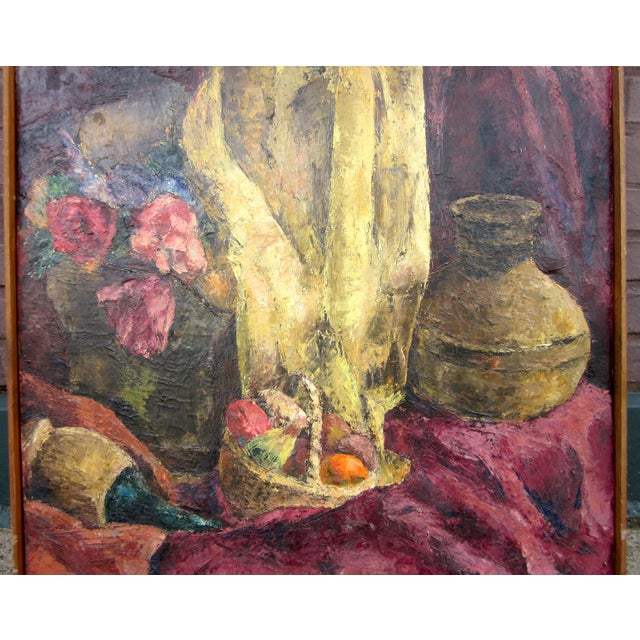 Suzanne Peters 1960s Vintage Suzanne Peters Oil on Canvas Studio Still Life With Roses, Peonies, Clay Vessels & Fruit Painting For Sale - Image 4 of 9