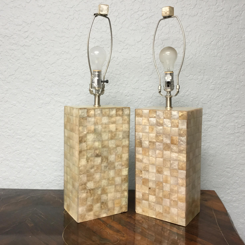 Capiz Shell Table Lamps A Pair Chairish