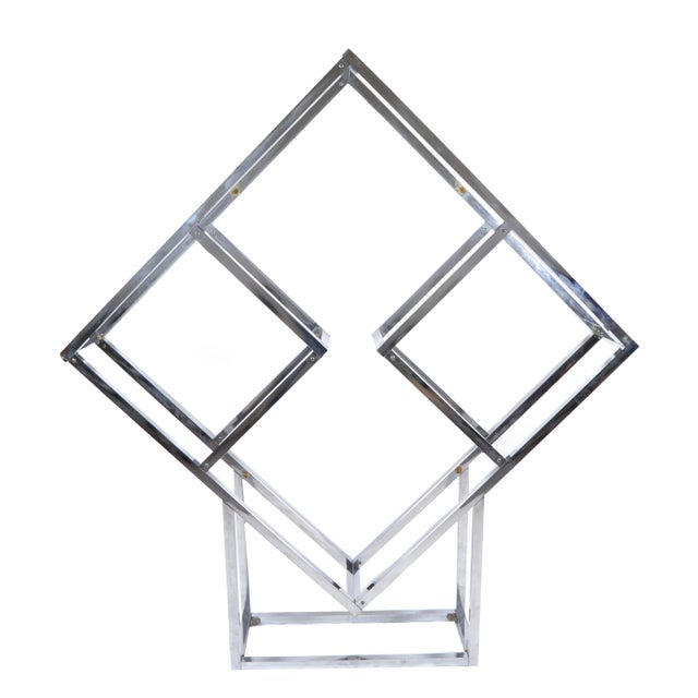 Silver 1970s Chrome Geometric Diamond Shaped Etagere For Sale - Image 8 of 9