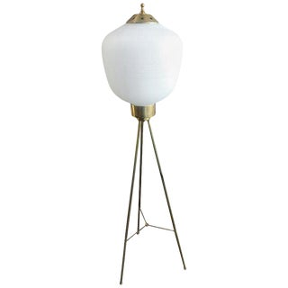 Italian Brass and Rare Opaline Glass Shape Tripod Floor Lamp, 1950s For Sale