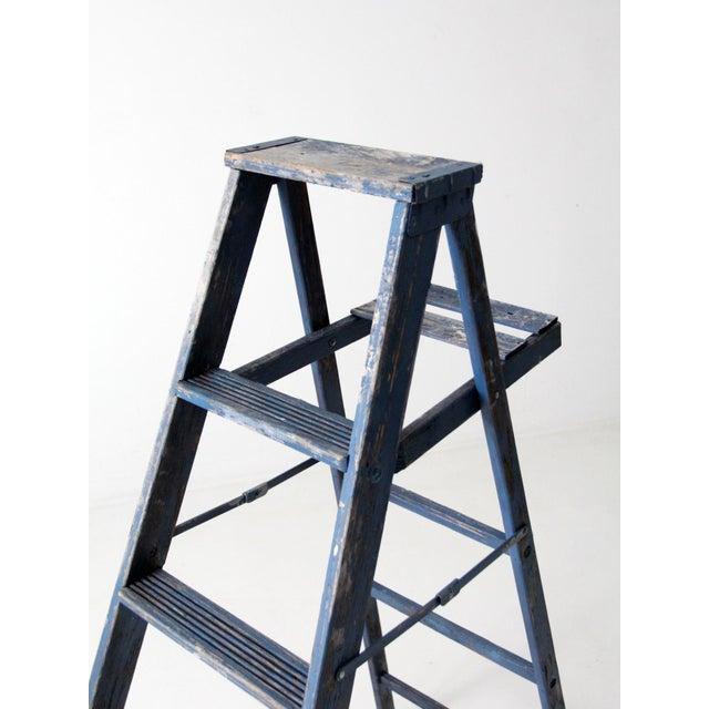 Vintage Blue Wooden Ladder For Sale - Image 9 of 10