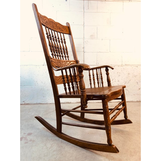 Quarter-Sawn Oak Hand Carved Rocking Chair For Sale - Image 13 of 13