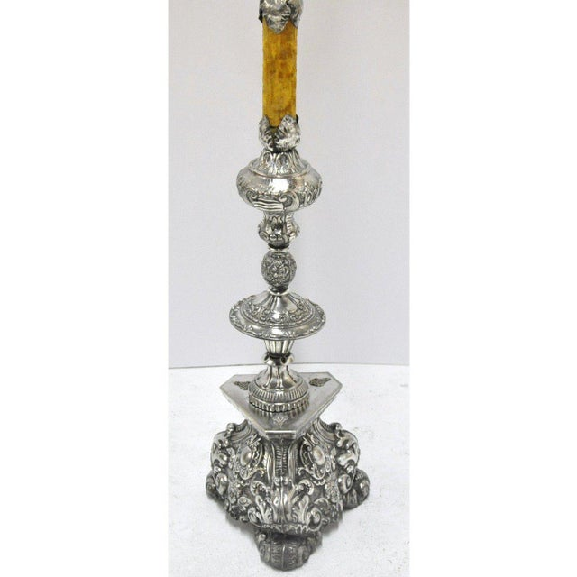 Louis XV Late 19th Century Italian Silver Plated Floor Lamp From Venice For Sale - Image 3 of 5