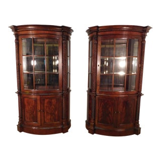 Henredon Historic Natchez Empire Flame Mahogany Bowfront China Cabinets - a Pair For Sale
