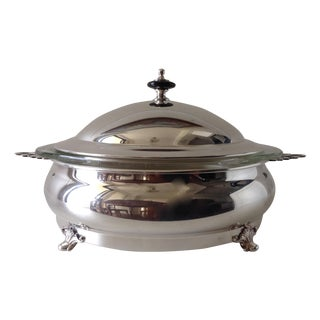 C.1970's Vintage English Silver Plated Covered Chapin Dish For Sale