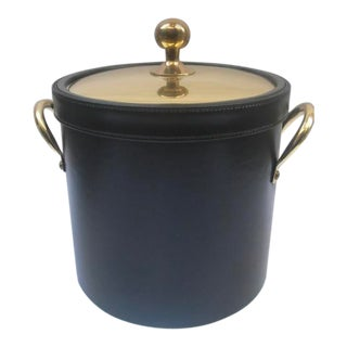 Faux Leather Ice Bucket With Gold Lid For Sale