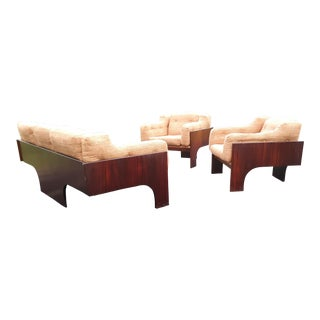 Vintage Mid Century Claudio Salocchi for Sormani, Rosewood Sofa and 2 Chairs Set-3 Pieces For Sale