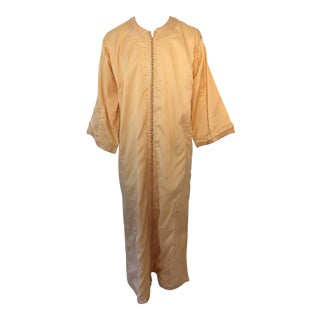 1970s Moroccan Vintage Kaftan Gentleman Yellow Gold Caftan For Sale