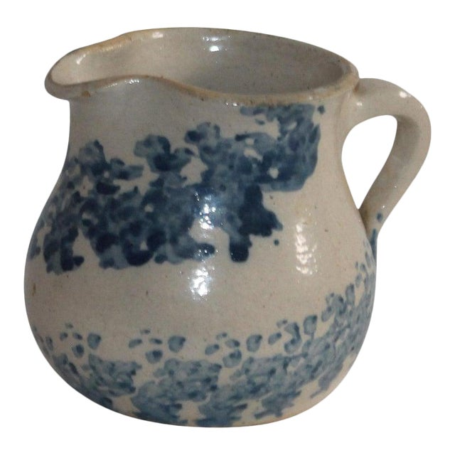 19th Century Sponge Ware Pottery Cream Pitcher For Sale