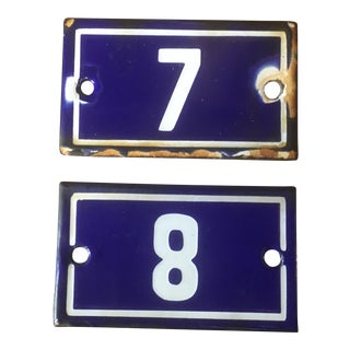 French Vintage Enamel Number Signs, 7 & 8 - a Pair For Sale