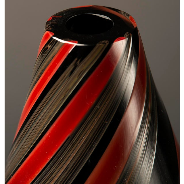 1980s Large Murano Glass Red and Black Striped Vase For Sale - Image 5 of 7