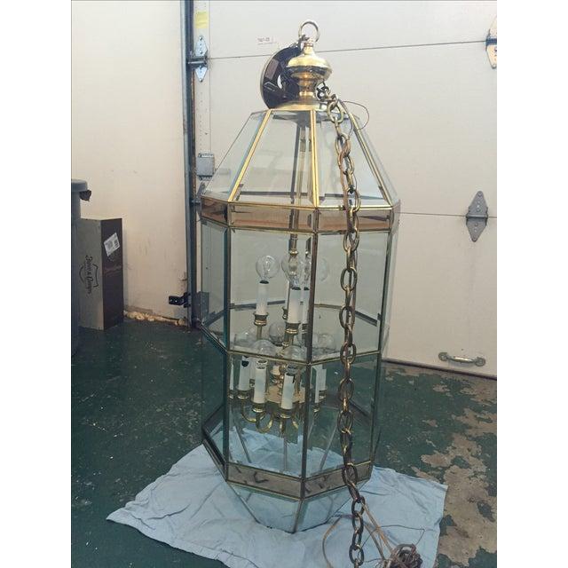 Antique Vintage Brass Lantern Chandelier - Image 3 of 4