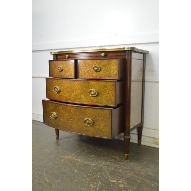 Theodore Alexander Theodore Alexander Regency Style Eglomise Flame Mahogany Bow Front Veneto Chest For Sale - Image 4 of 13