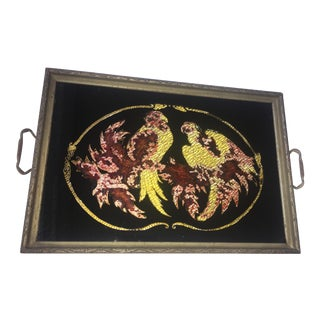Vintage Reverse Glass Parrots Tray For Sale