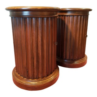 1970s Swedish Brandt Wood Pair Drum Tables - a Pair For Sale