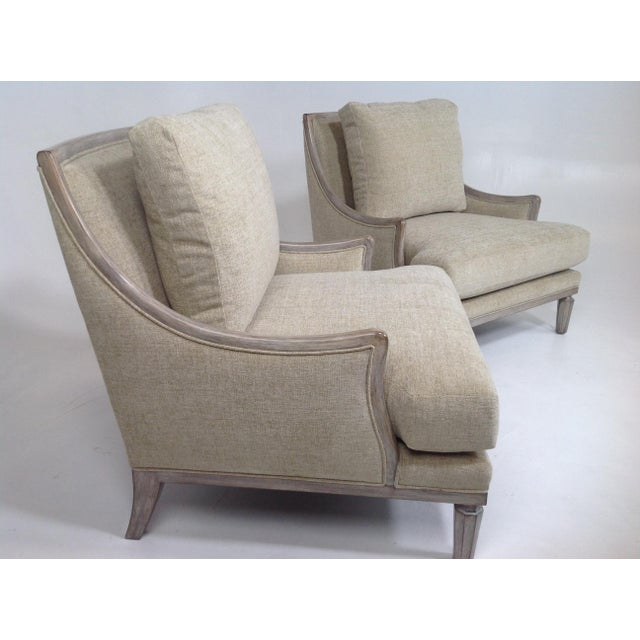 Contemporary Chenille Ceruse Gray Lounge Chairs - A Pair For Sale - Image 3 of 9