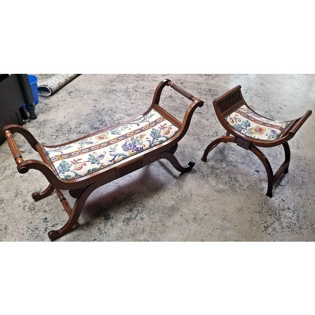 Mid 20th Century Empire Style Bedroom Scroll End Bench Seats- A Pair For Sale - Image 5 of 13
