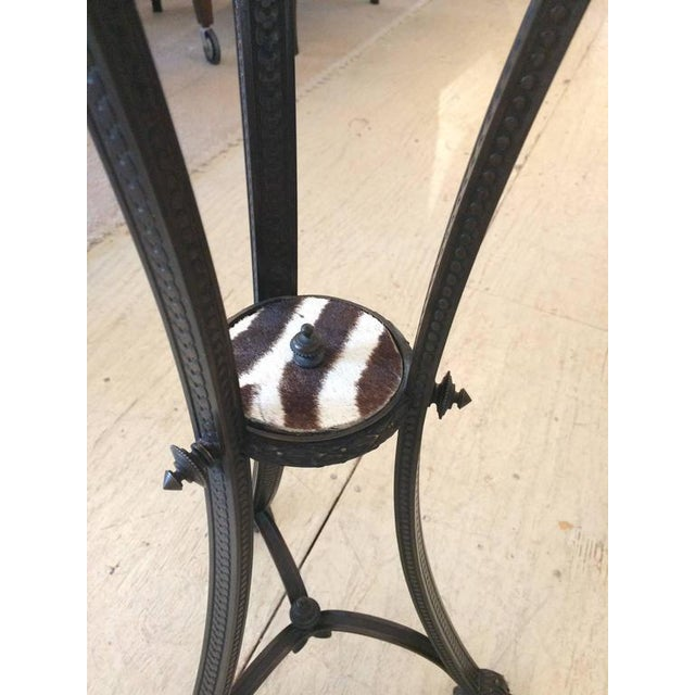Antique French Bronze & Zebra Hide Gueridon Table - Image 8 of 8