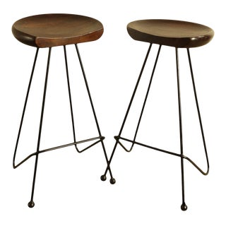 Custom Quality Wrought Iron Hard Wood Seat Pair Barstools For Sale