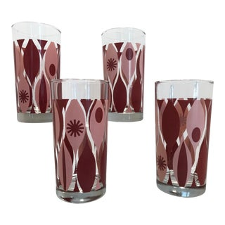1960s Mid Century Modern Pink and Burgundy Atomic Highball Glasses - Set of 4