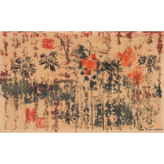 Abstracted Floral Print 1963 Monotype For Sale