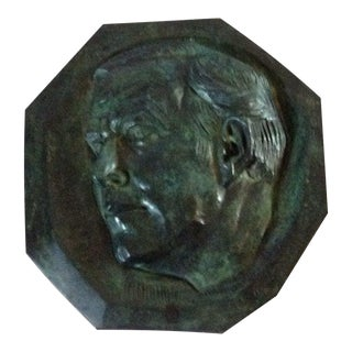 Mid-Century Modern Robert Russin Bronze Plaque of David D. Rockefeller For Sale