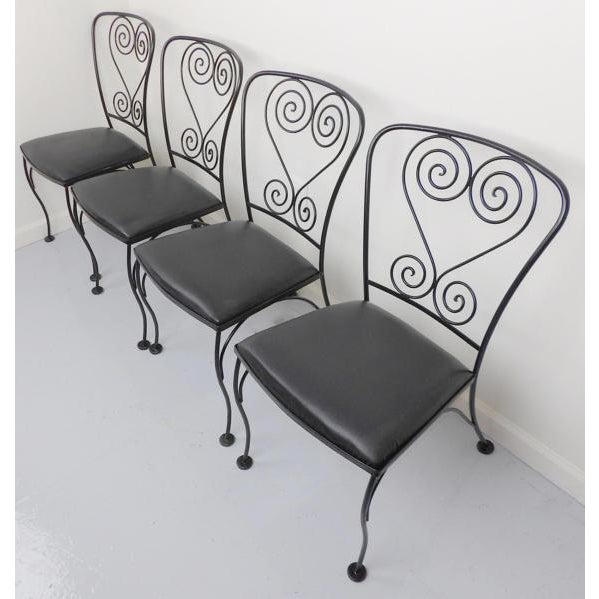 Vintage Black Wrought Iron Patio Chairs - Set of 4 For Sale - Image 4 of 6