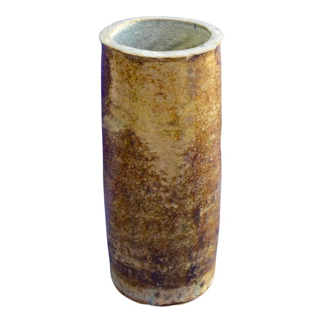 Vintage Hand Thrown Studio Earthy Toned Pottery Cylindrical Vase - Image 1 of 10