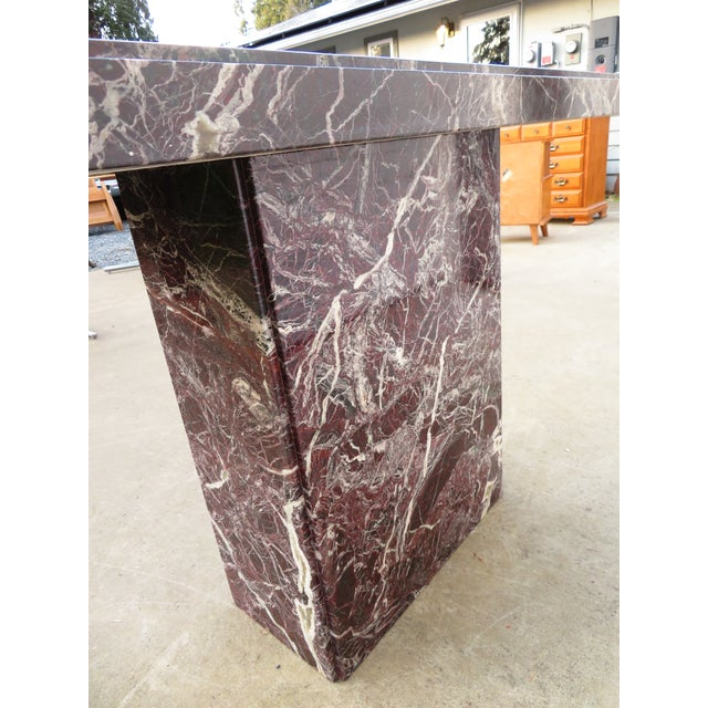20th Century Hollywood Regency Variegated Marble Pedestal Console or Entryway Table For Sale In Seattle - Image 6 of 13