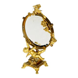 French Gilt Bronze Table Mirror For Sale
