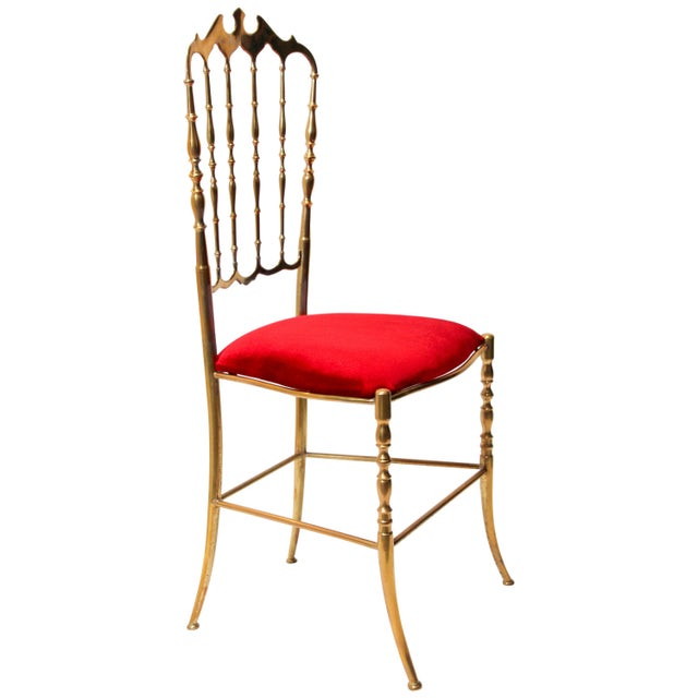 Chiavari Polished Brass Chair With Red Velvet, Italy, 1960s For Sale - Image 10 of 10