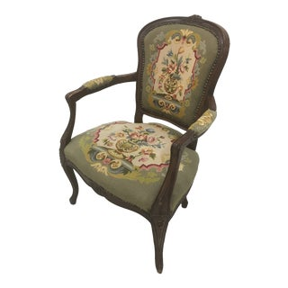 French Green Needlepoint Chair For Sale