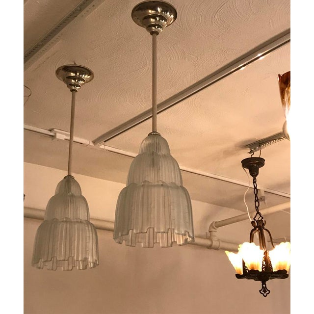 Art Deco French Art Deco Waterfall Chandeliers Signed by Sabino - a Pair For Sale - Image 3 of 11