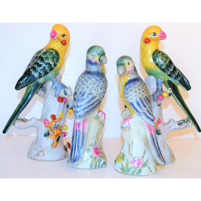 (Final Mark Down Taken) Chinese Export Porcelain Parrot Figurines - Set of 4 For Sale - Image 12 of 12