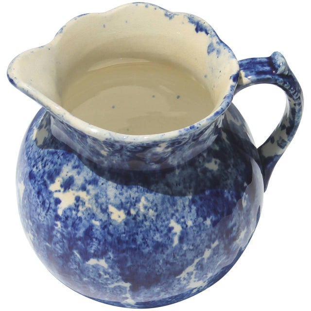 American 19th Century Sponge Ware Squatty Pottery Pitcher For Sale - Image 3 of 5