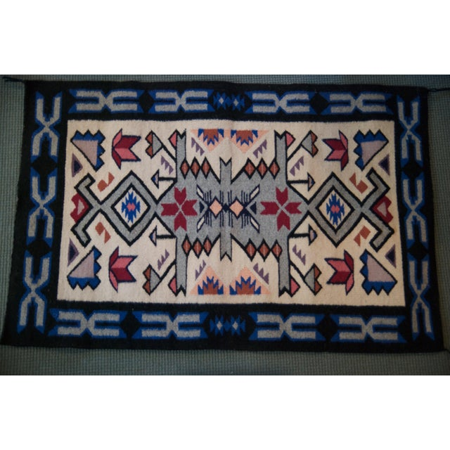 Vintage Navajo Hand Loomed Geometric Rug by Ella John- 2′1″ × 3′2″ For Sale In New York - Image 6 of 12