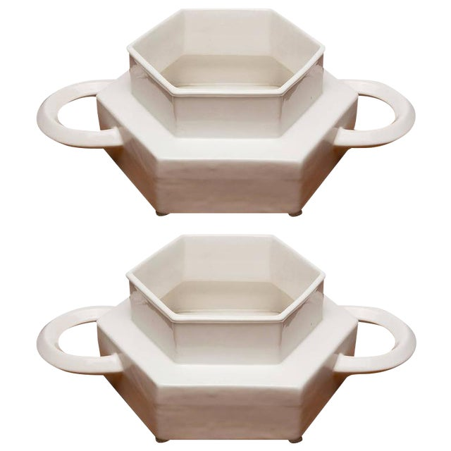 Pair of Ceramic Centerpieces by Gabbianelli For Sale