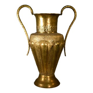 Vintage Classical Hammered Brass Amphora 22 Inches For Sale